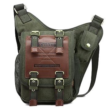f2c0524eee8c1 KAUKKO Segeltuch Jahrgang Brusttasche Männer Frauen Reise Wandern  Schultertasche (Armee-Grün)