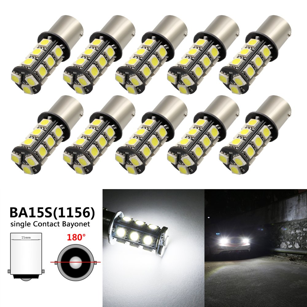 Boodled 10-Pack Extremely Bright White 1156 BA15S 1141 1073 1095 1003 7506 18-SMD 5050 LED Replacement Bulb for Car Interior RV Camper Turn Backup Parking Side Marker Lamp 10xH-1156-5050-18-W
