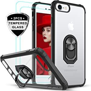 iPhone SE 2020 Case, iPhone 8/7/ 6/ 6s Case with Tempered Glass Screen Protector [2 Pack], LeYi Military-Grade Clear Crystal Phone Case with Car Mount Kickstand for Apple iPhone 6/6s/7/8, Black