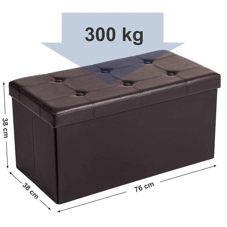 SONGMICS Baúl, Puff, Taburete para Almacenaje Plegable, Carga Máxima de 300 kg, 76 x 38 x 38 cm, Marrón LSF40Z