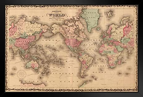Amazon map of the world mercators projection a j johnson 1860 map of the world mercators projection a j johnson 1860 vintage historical cartographic print framed poster 18x12 gumiabroncs Choice Image