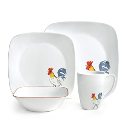 Corelle Square Country Dawn 16-pc Dinnerware Set  sc 1 st  Amazon.com & Amazon.com: Corelle Square Country Dawn 16-pc Dinnerware Set: Home ...