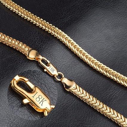 961f5d3de043 suwanpoomshop Collar de cadena chapado en oro macizo amarillo de 18  quilates