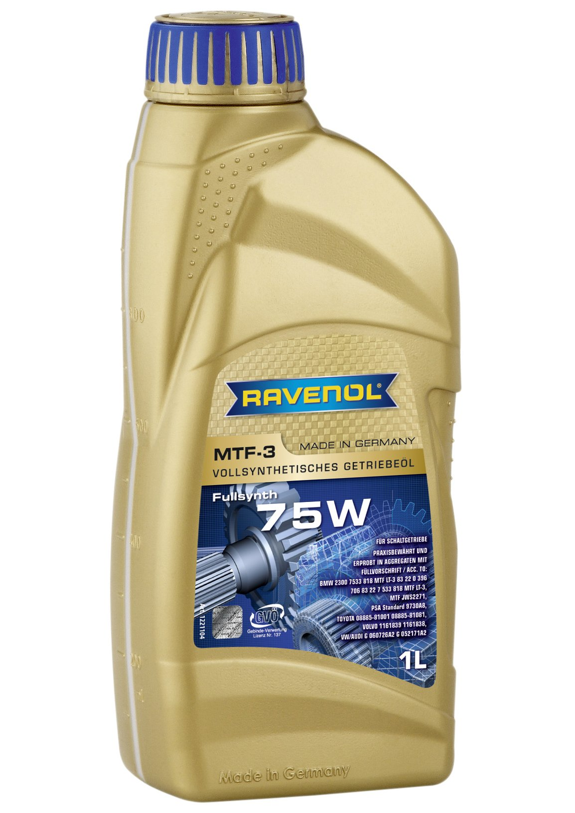 Ravenol J1C1003 SAE 75W Manual Transmission Fluid - MTF-3 Full Synthetic (1 Liter)