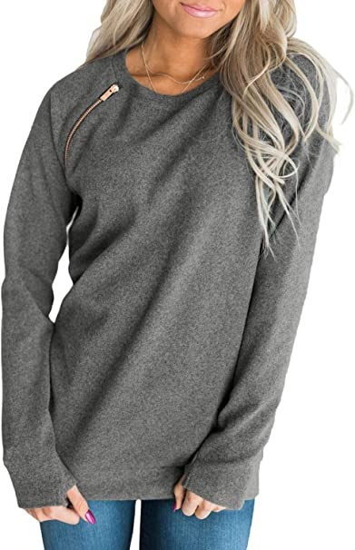 DOKOTOO - Sudadera de manga larga para mujer, cuello redondo, color sólido, con bolsillos