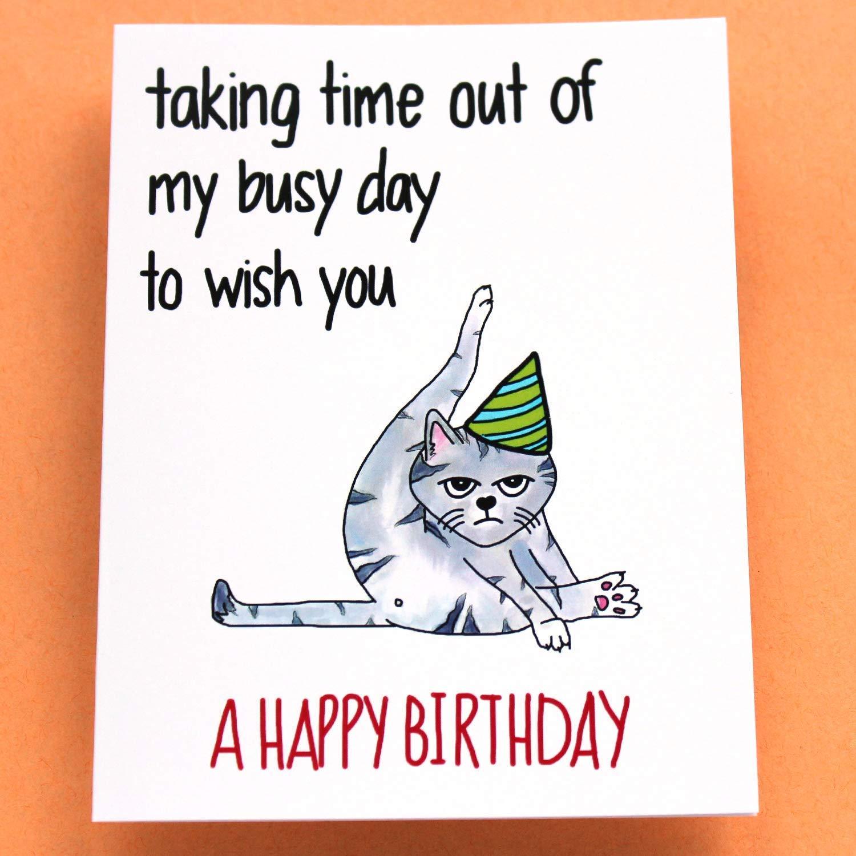 Funny Cat Birthday Card Grumpy