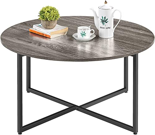 YAHEETECH Round Coffee Table,35.5in Vintage Style Cocktail Table,Rustic Sofa Table Durable Metal Frame,Easy to Assemble,for Living Room Bedroom Home Office Balcony