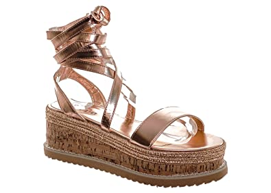 d6a4cf80f14c Fuchia boutique Women s Rose Gold Cross Strap Cork Sole Flatforms Summer  Sandals Ladies Shoes (7