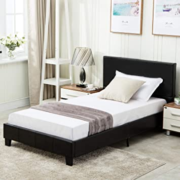 Amazon.com: mecor Twin Size Bed Frame   Black Faux Leather
