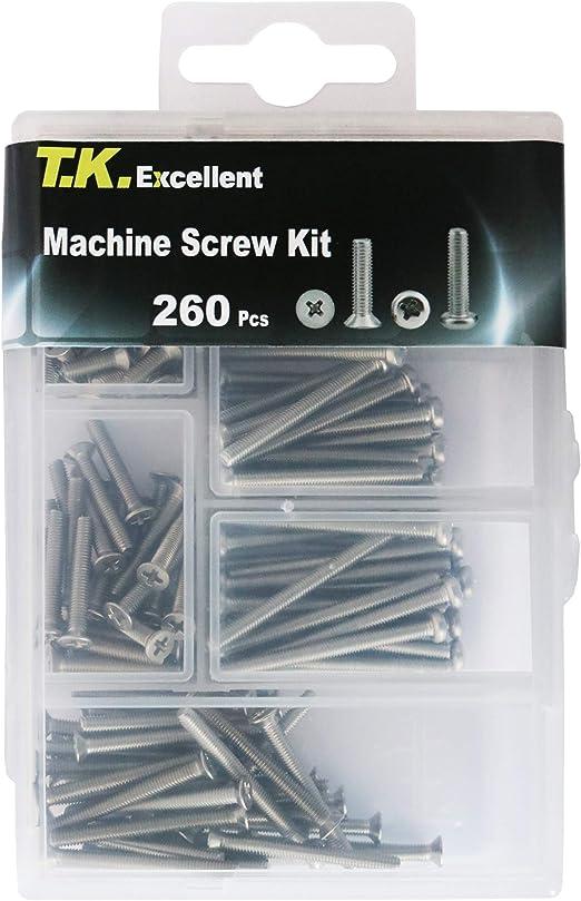 T.K.Excellent Flat Head Phillips #6-32 Electrician/'s Machine Screw Kit,370 Pcs