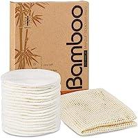 Herbruikbare make-up remover pads - 20 packs natuurlijke bamboe katoenen ronden Eco-vriendelijk voor alle huidtypes met…
