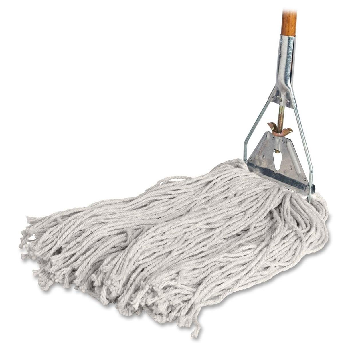 Genuine Joe Cotton Wet Mop with Handle 60'' Width x 0.94'' Height; Cotton HeadWood Handle – Lightweight
