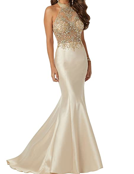 MJBridal Sparkle Beaded Bodice Mermaid Prom Dress Backless Satin Evening Gown