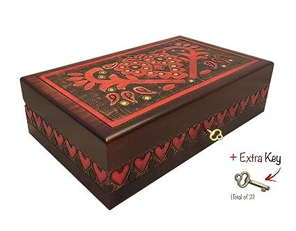 Polaco hecho a mano caja de madera w/Lock & Key Vintage corazones joyas caja