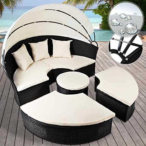 Miadomodo - Conjunto de sillones Isla - Anchura Total Ø Aprox. 180 cm - de polirratán Negro