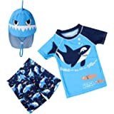 Toddler Baby Boys Short Sleeve Two Pieces Set Shark Bathing Suit Rash Guards Sunsuits Swimwear with Hat UPF 50+