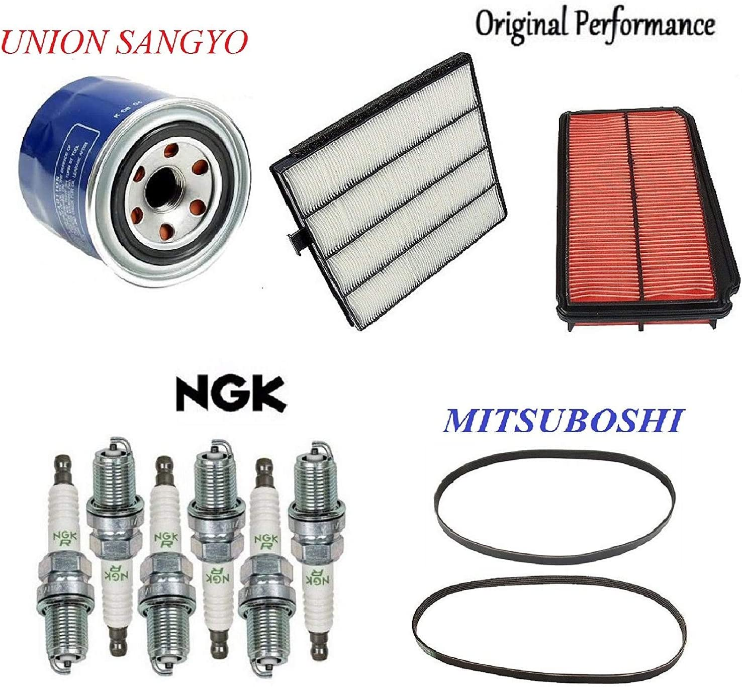 8USAUTO Tune Up Kit Air Oil Fuel Filters Cap Rotor Wire Spark Plugs FIT Honda Odyssey L4 2.3L 1998