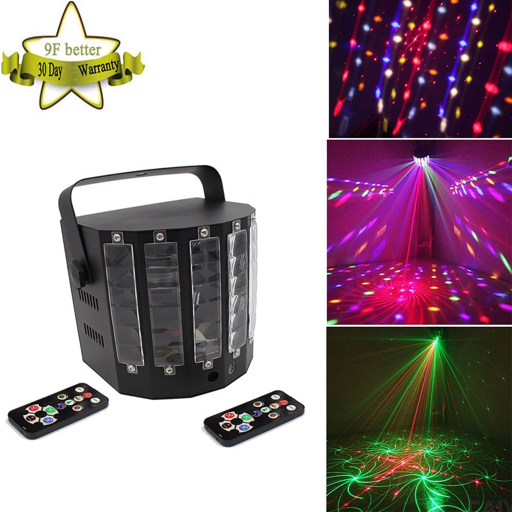 9Fshine Laser Stage Lights, 54W,Auto,Sound,DMX,Master-Slave 4 Modes,9 Colors Effect Butterfly Stage Light with Remote Control (include)for Diso,Party,Wedding