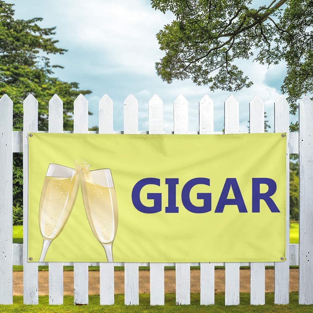 One Banner 8 Grommets Vinyl Banner Sign Gigar Business Gigar Outdoor Marketing Advertising Yellow Multiple Sizes Available 44inx110in