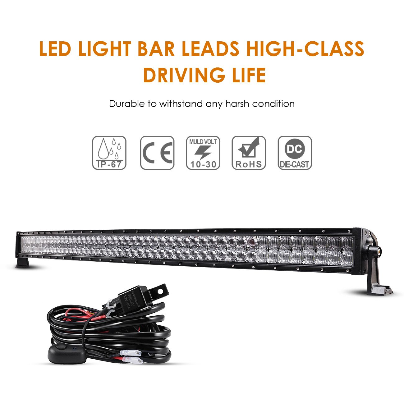 Led Highbeam Light Bar Wiring Diagram Auxbeam 52 Inch Curved 300w Work Off Road Driving Lights Spot Flood Combo Fog 5d Lens With Harness For Car