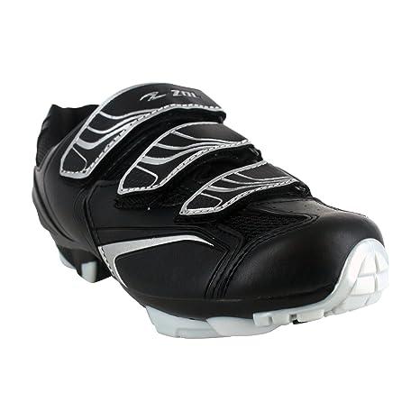 ZOL Zapatillas de deporte para ciclismo de interior y de montaña, Black with Silver,