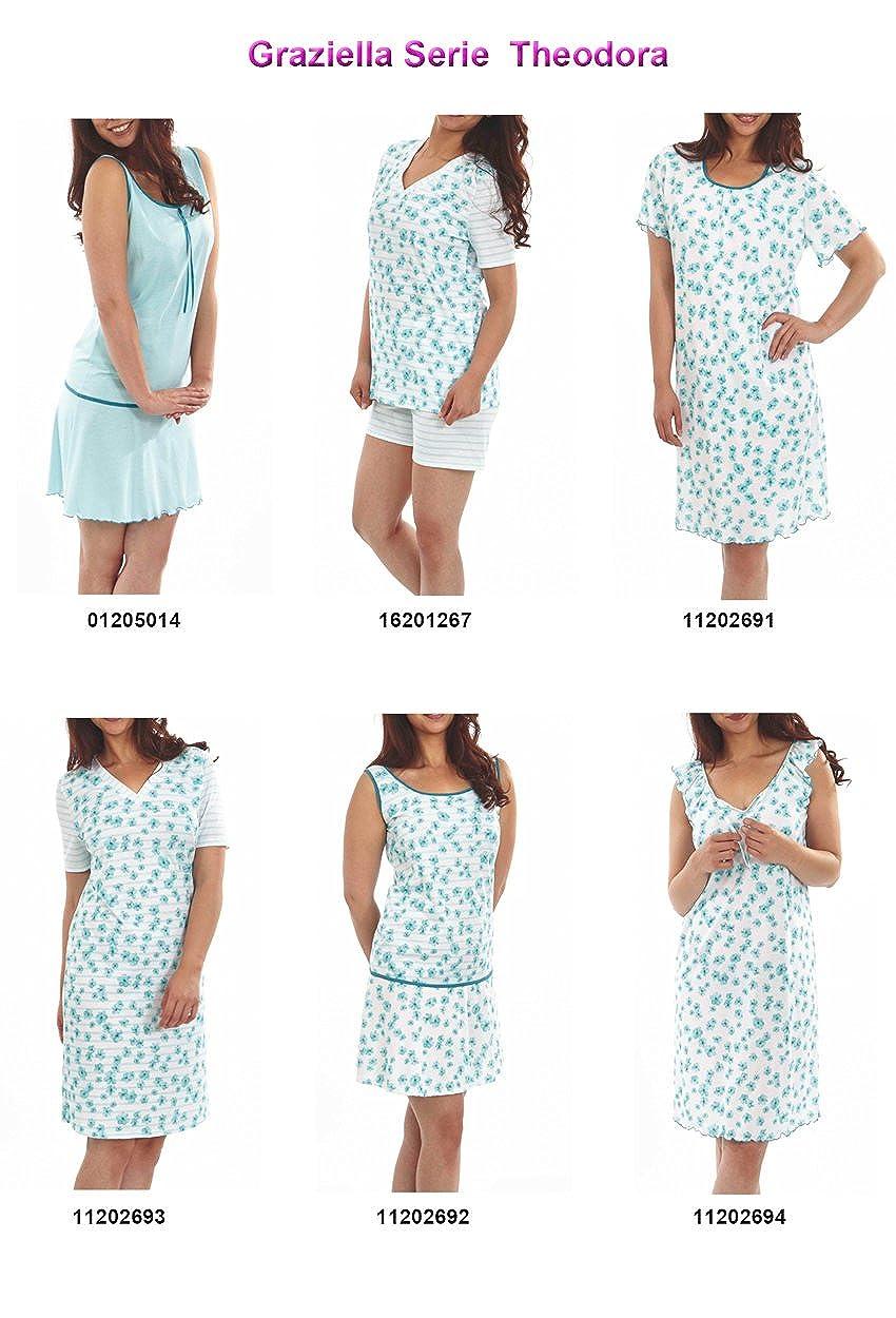 93edecbefb Graziella Nachthemd Theodora 90 cm lang Sleepshirt Nachtkleid Türkis 10 Gr.  36/38-54/56 Nachtwäsche 100% BW Zertifiziert: Amazon.de: Bekleidung
