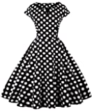 FAIRY COUPLE Women's 1950S Vintage Polka Dots Cap Sleeves Prom Dress
