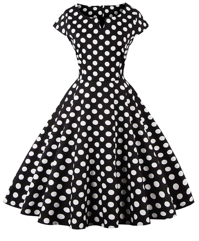 TALLA XXL. FAIRY COUPLE 1950S Vintage Rockabilly Lunares Cap Mangas Vestido de Baile DRT019 Puntos Negros XXL