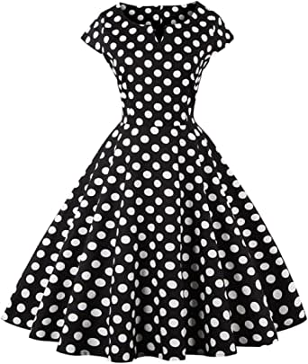 FAIRY COUPLE Women's 1950S Vintage Polka Dots Cap Sleeves Prom Dress