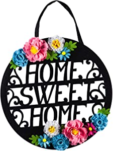 Evergreen Flag Beautiful Floral Home Sweet Home Laser Cut Door Décor - 20 x 10 Inches Fade and Weather Resistant Outdoor Decoration for Homes, Yards and Gardens