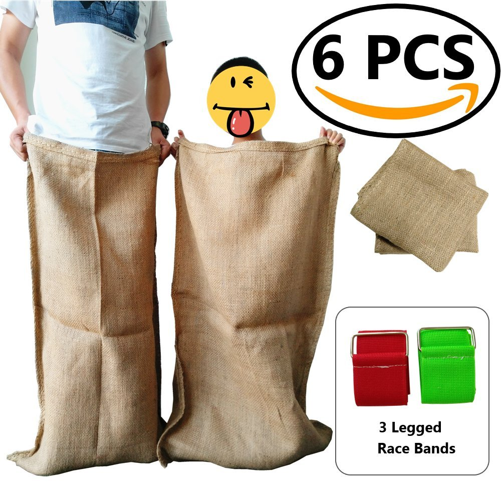 AUXIN,Potato Sacks Race [4 PCS]+3 Legged Race Bands [2 PCS],Children`s Birthday Party Out Door Games,Suitable for Kids and Adults,Ultra Firm,Family Fun Sacks,Potato Gunny Sacks,Crop Storage Bags