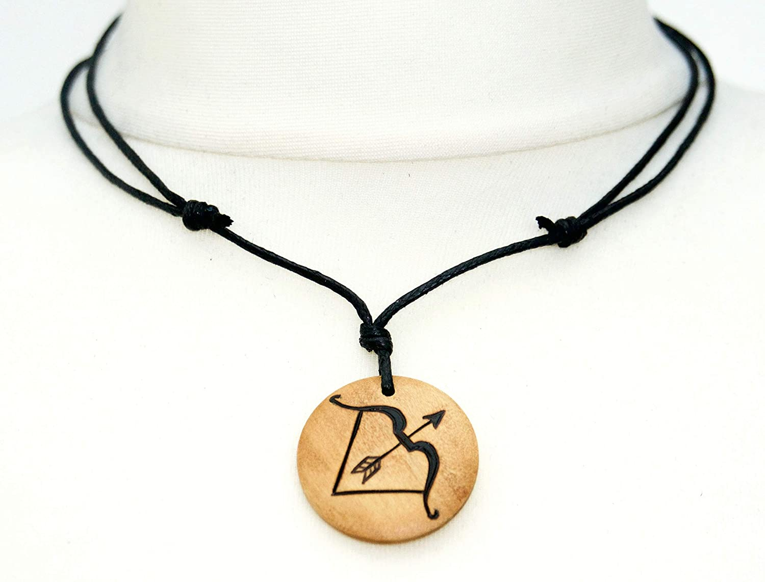 Bow and Arrow Necklace Archery Necklace Wooden Jewellery Artemis Necklace Archer Hunter Jewellery Mens Necklaces Archery Choker
