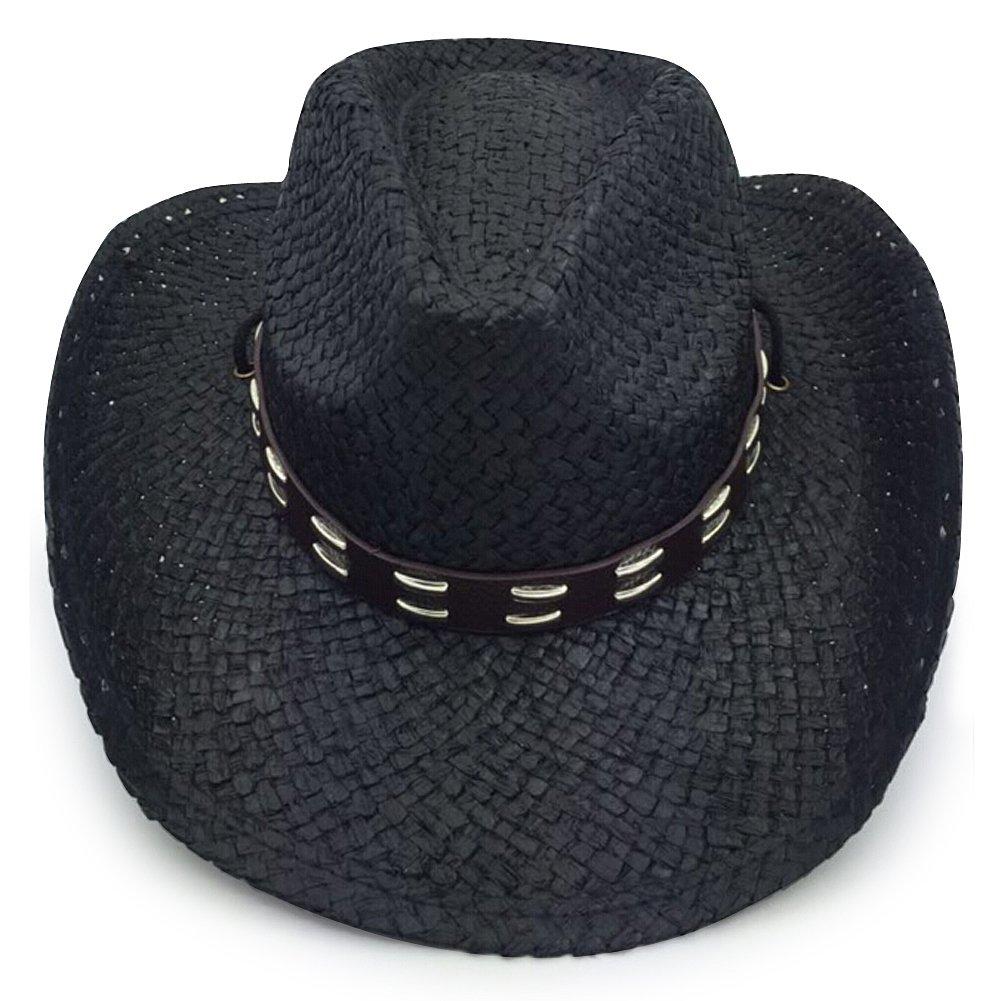 black3 Mens /& Womens Western Classic Cowboy Straw Hat