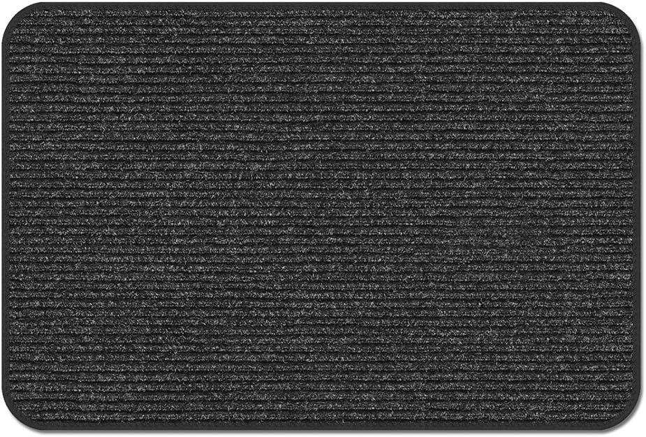 House, Home and More Skid-Resistant Heavy-Duty Door Mat - Charcoal Black - 2 Feet X 4 Feet
