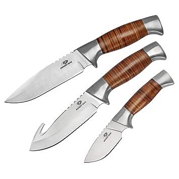 Amazon.com: Mossy Oak juego de cuchillos de caza de hoja ...