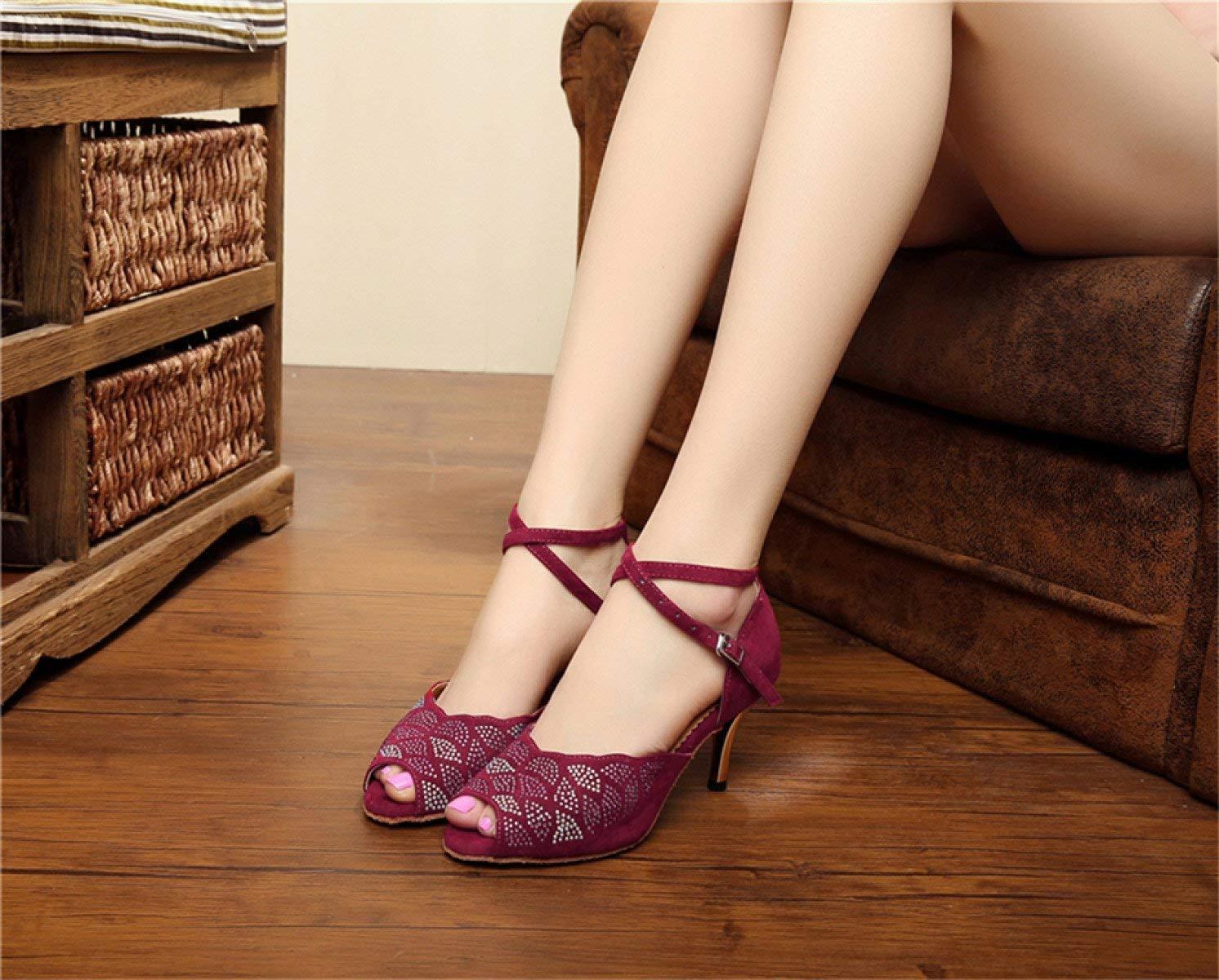 Yingsssq Damen Kristalle Kristalle Kristalle Sparking Satin Latin Salsa Tanzschuhe Tango Chacha Samba Modern Jazz Schuhe Sandalen High Heels Rot-Absatz8.5cm-UK5   EU37   Our38 55c677