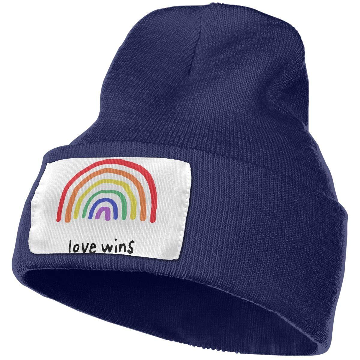 Love Wins Rainbow Beanie Skull Cap Slouchy Knit Beanie Hats Plain Winter Hats for Men Women Daily