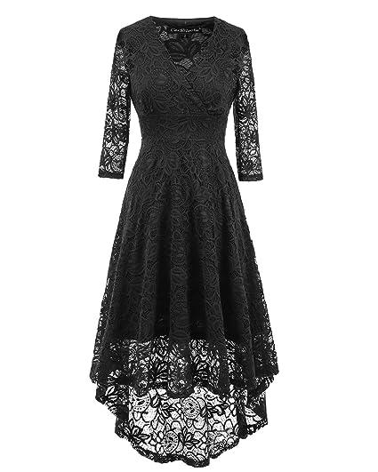 d94060c67619 BEIJG Women lace dress deep V neck 1/2 sleeve knee long cocktail evening  dress ball gown prom dresses: Amazon.co.uk: Clothing