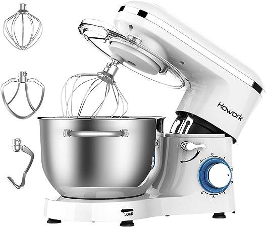 Batidora Amasadora, Howork 1500W 6 Niveles de Velocidad Amasadora de Bajo Ruido para Repostería, Robot de Cocina Automática Multifuncional, 6.2 litros capacidad Amasadora (6.2 litros, blanco): Amazon.es: Hogar