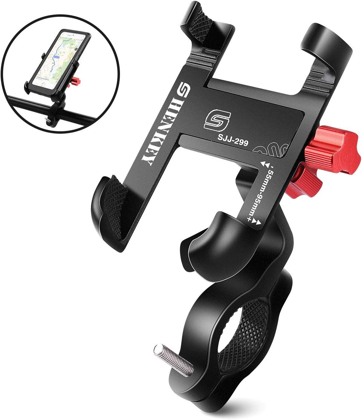 Soporte Movil Bicicleta y Moto, Soporte de Teléfono Celular de Aluminio de 360 ° para Motocicleta de Bicicleta Compatible con iPhone MAX XR XS X 11 8 7 6 5, Samsung S10 + S9 S8, Nota 10 9 8
