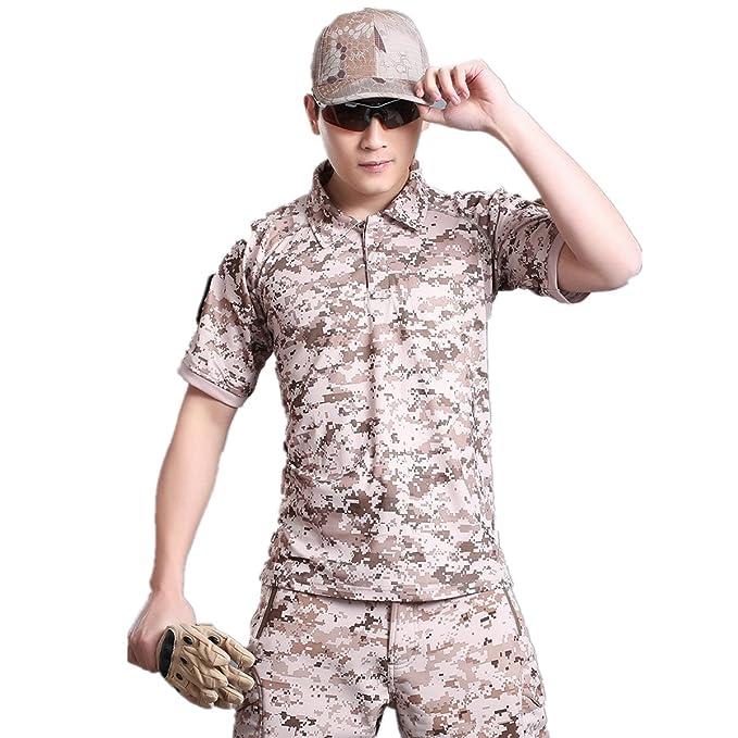 Caza de Combate táctico Militar Caza Manga Corta Held Airsoft Camuflaje Camiseta Uniformes tácticos Ropa Deporte al Aire Libre para Multicam Desierto ...