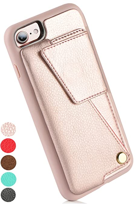 "I Phone 7 Wallet Case, Zv Edeng I Phone 8 Card Holder Case, I Phone 7 Case For Women, I Phone 8 Wallet Case With Credit Card Holder Slot, Protective Cover For Apple I Phone 7 / I Phone 8 4.7""   Rose Gold by Zv Edeng"