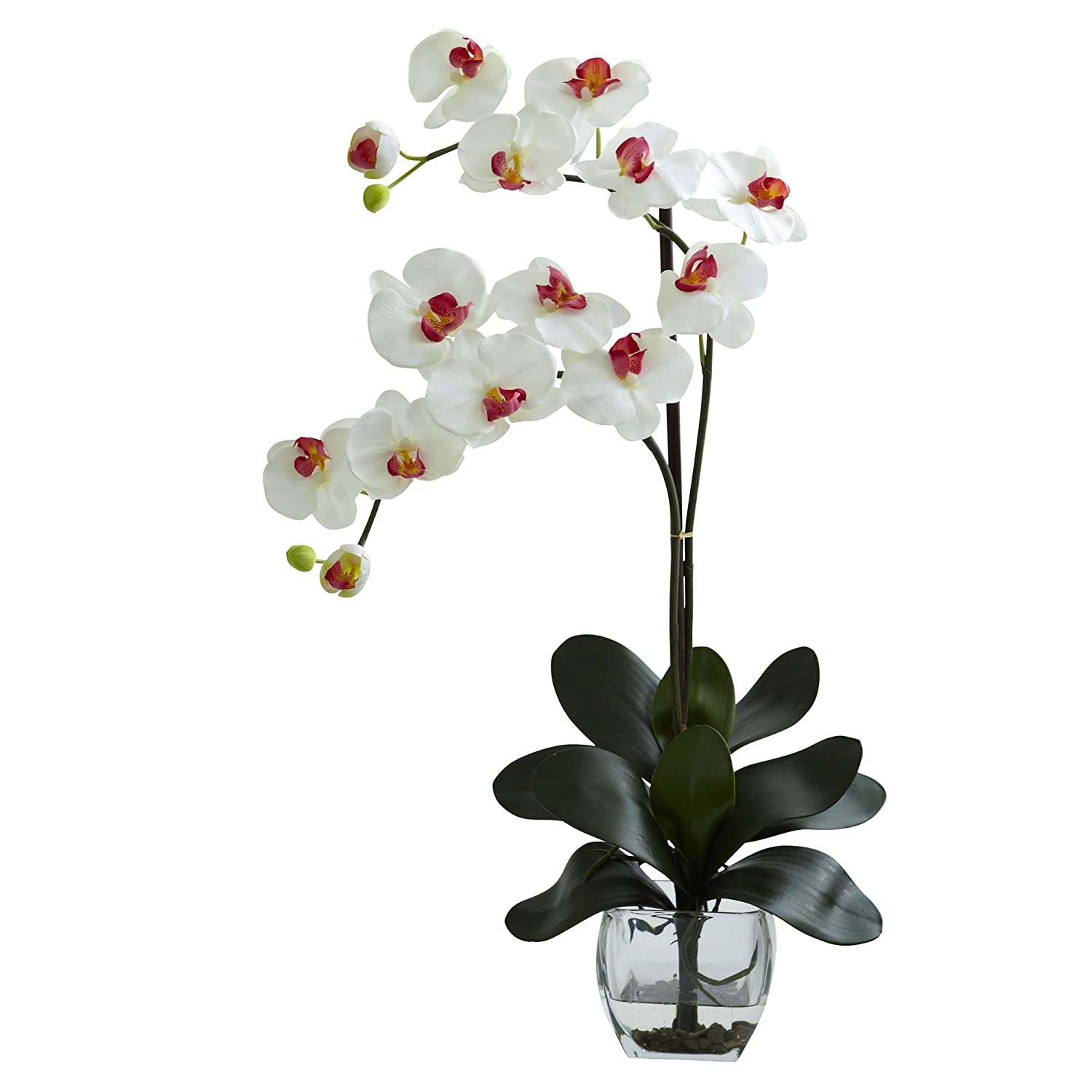 Nearly Natural 1323-WH Double Phalaenopsis Orchid with Vase Arrangement, White