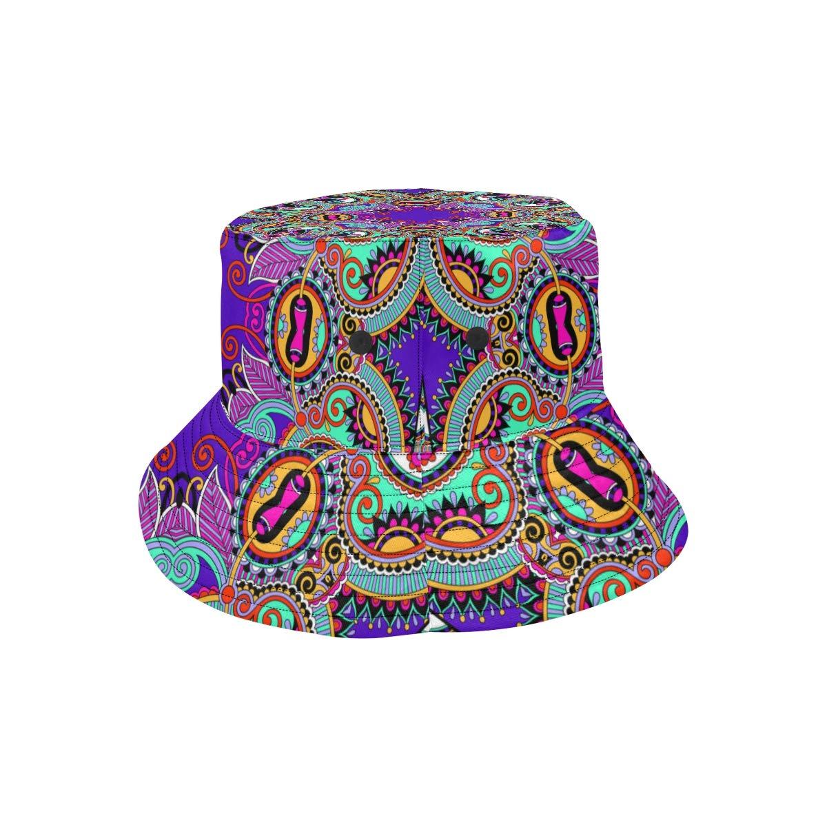 Symmetry Ethnic Popular Summer Unisex Fishing Sun Top Bucket Hats for Kid Teens Women and Men with Packable Fisherman Cap for Outdoor Baseball Sport Picnic