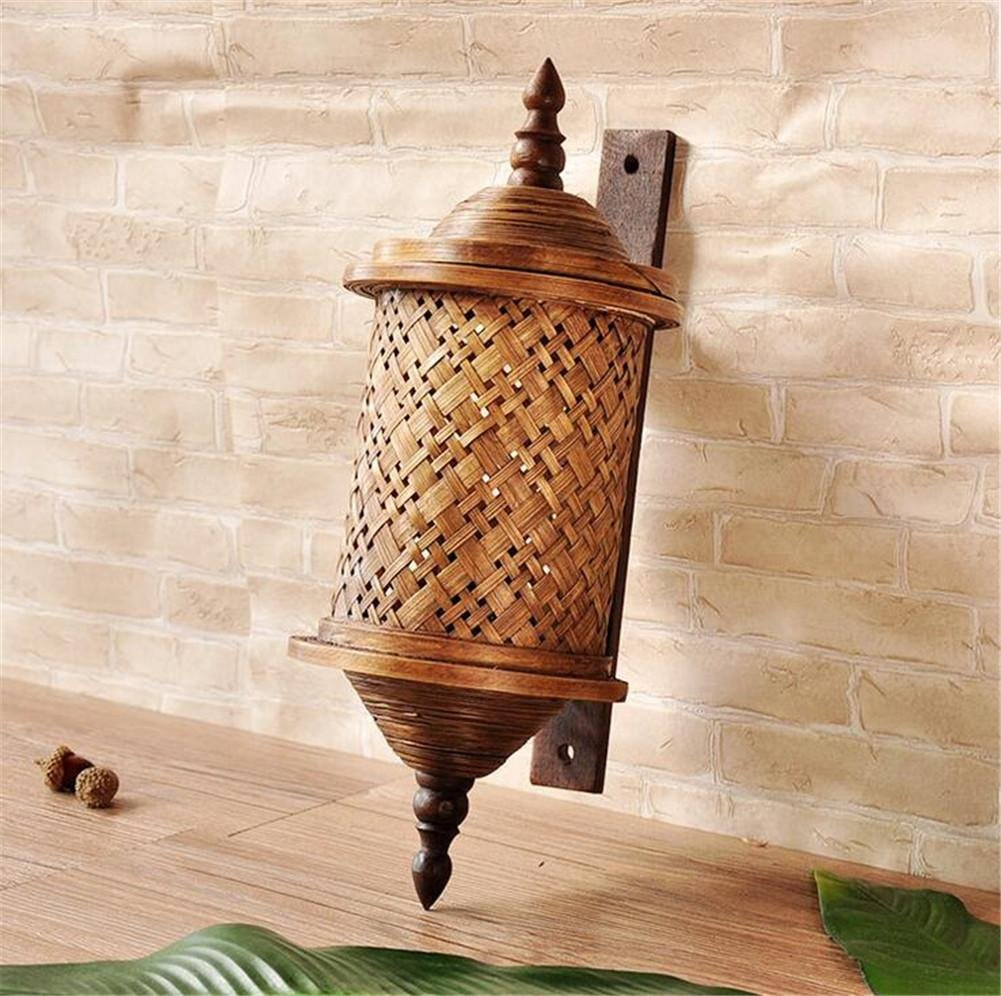 Thai bamboo wall wooden bamboo green corridor the corridor Wall lamp