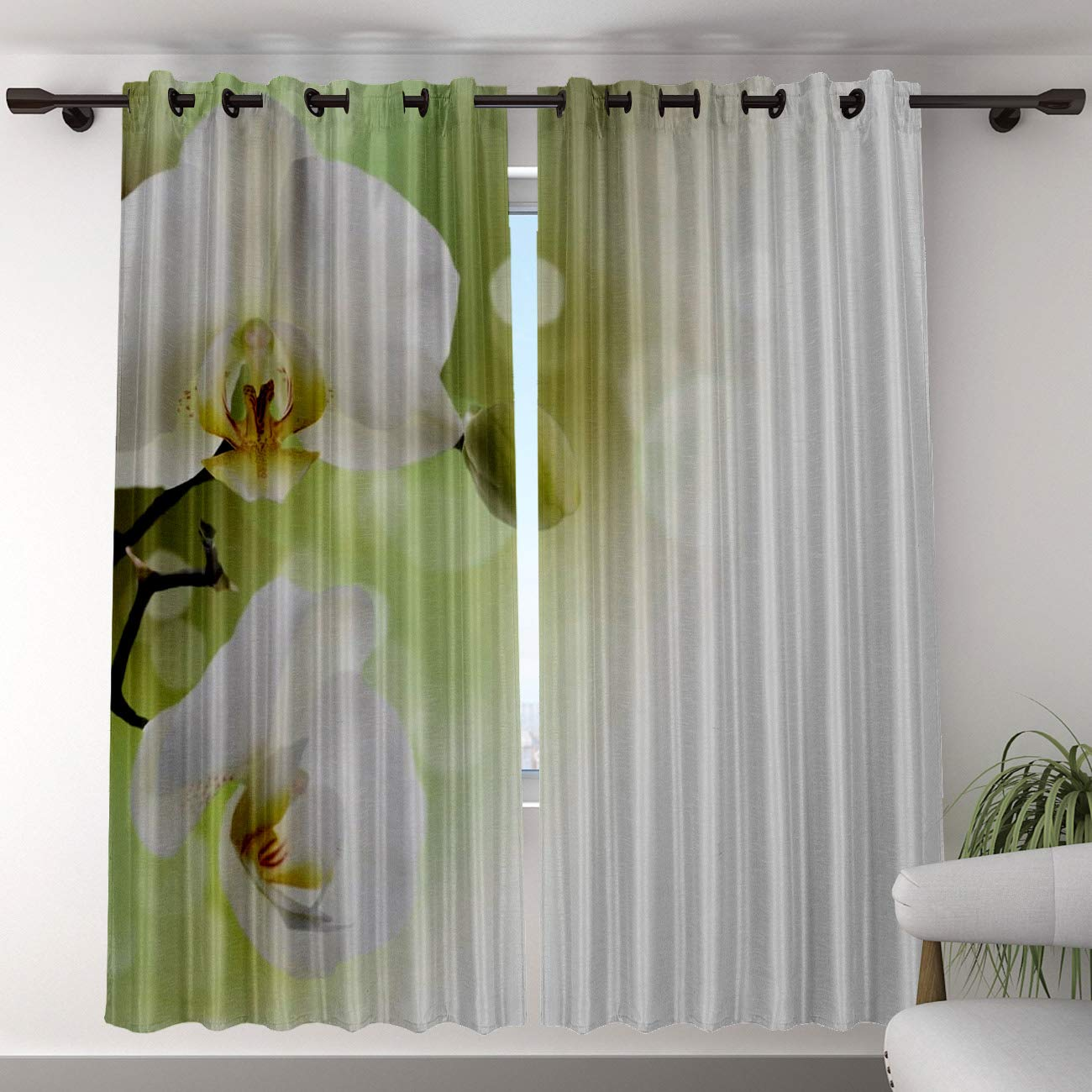 Blackout Curtain Panels Window Draperies for Living Room Bedroom Kitchen, Insulating Room Darkening Grommet Window Treatments, White Phalaenopsis Flower (52 ...