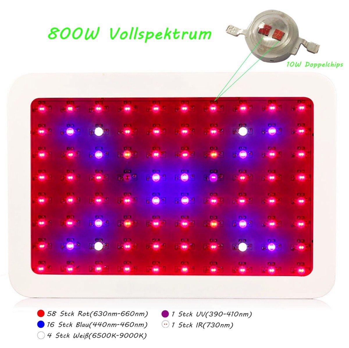 JADIDIS 800W LED Pflanzenlampe 10W Doppelchips Vollspektrum mit IR UV Licht für Hydroponik Zimmerpflanzen Wachstum Blüte