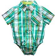 Kanodan Infant Baby Boy Plaid Shirt Bodysuit Cotton Soft Summer Short Sleeve Crawling Romper 0-12Months (Green, 0-3M)