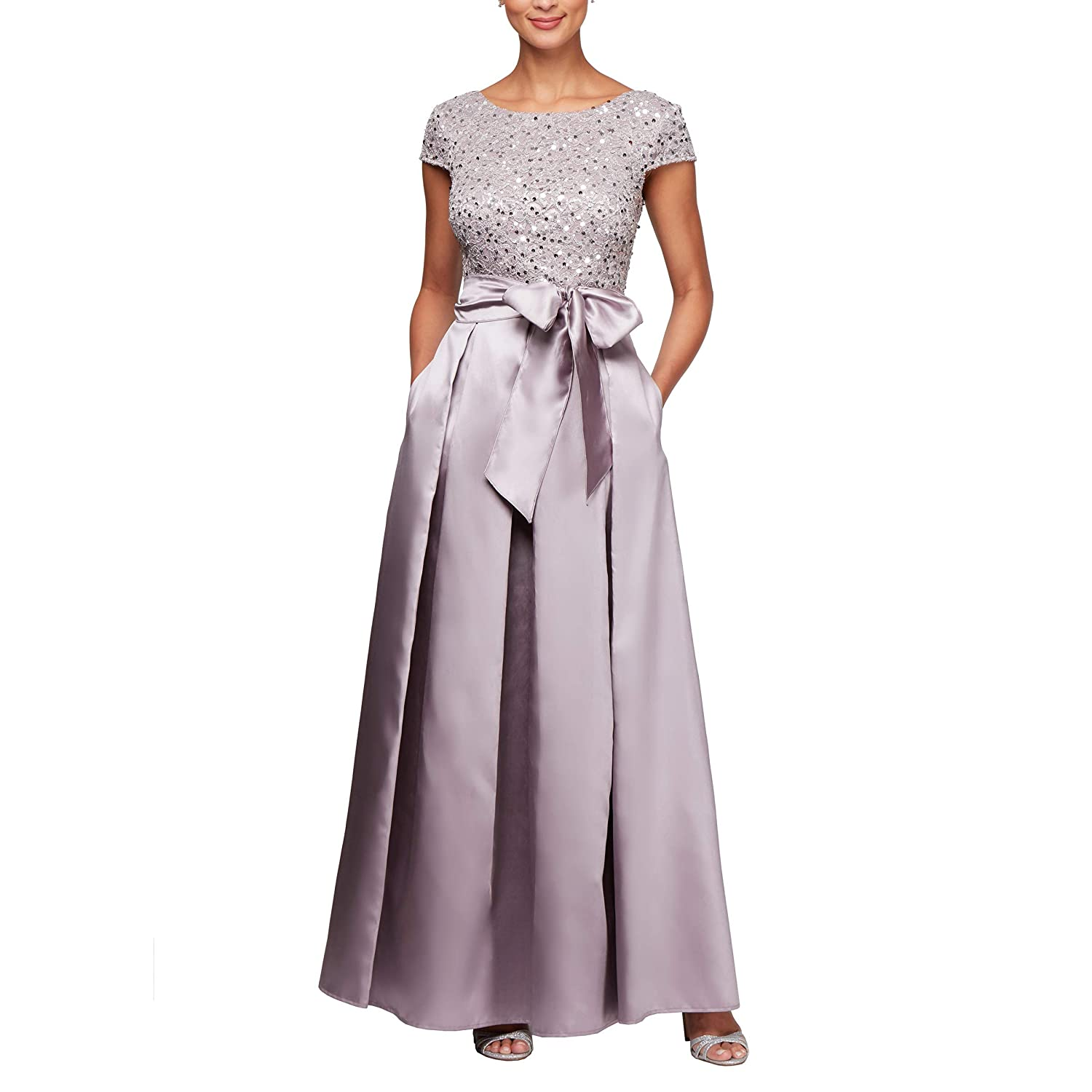 b0aca315310 Top1  Alex Evenings Women s Lace and Satin Ballgown Dress with Sleeve
