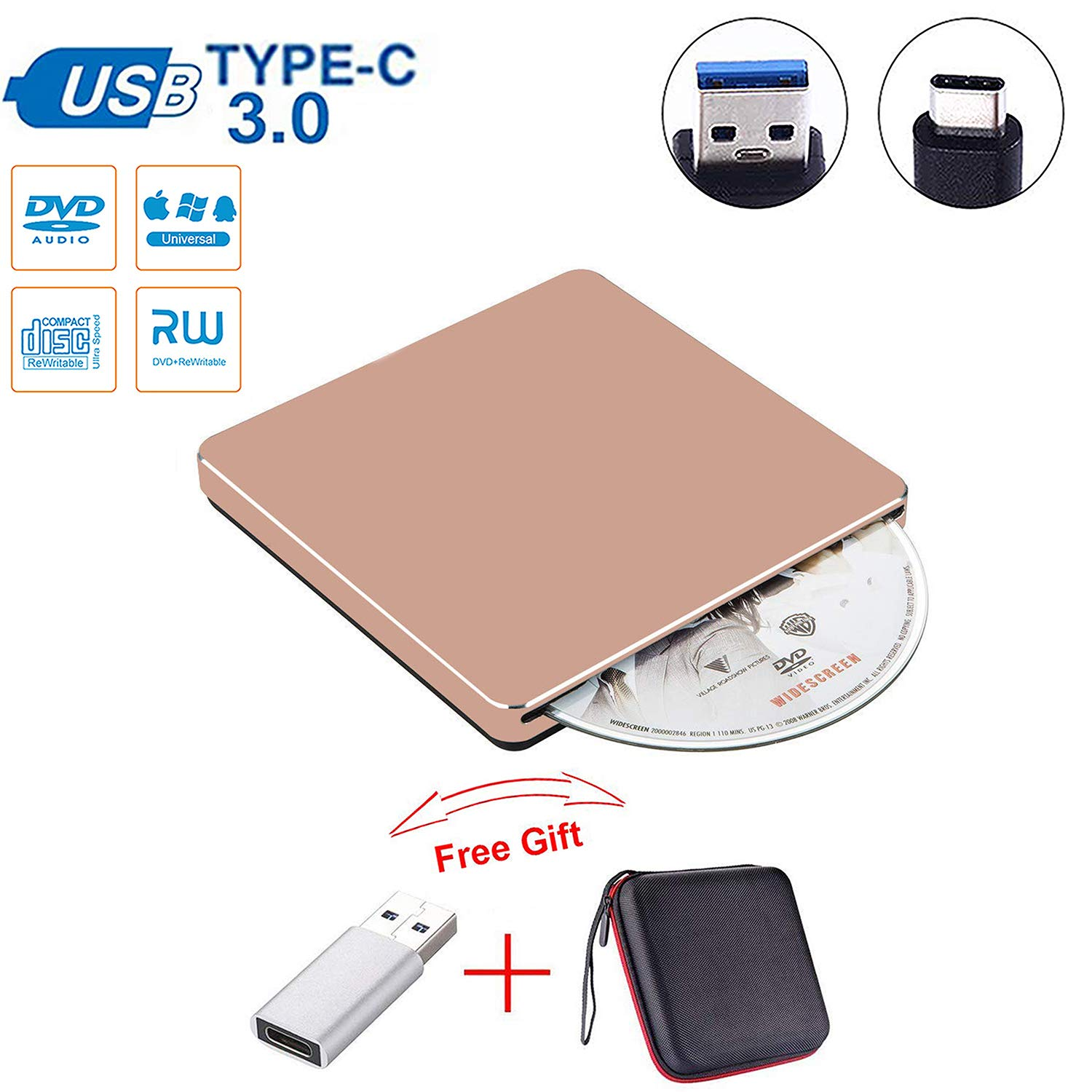 Guamar External CD DVD Drive USB C Slot in Drive USB 3.0 External CD Drive CD Player +/-RW Burner Writer Compatible with MacBook Pro Air/Laptop/Windows10 with Free USB 3.0 Adapter (Rose Gold) by Guamar